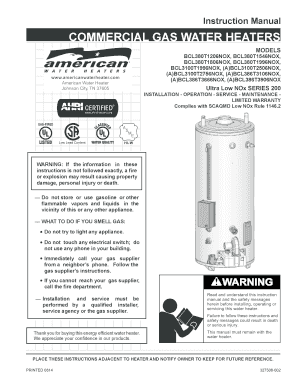 Download Instruction Manual - American Water Heaters