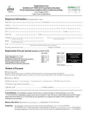Registration Form   FC Southern Africa 2015 NK Ec   GlobalGAP  Indemnity Forms