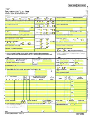 Printable health insurance claim form 1500 download - Edit ...
