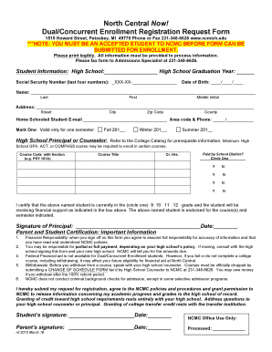 Registration Request Form - North Central Michigan College - ncmich