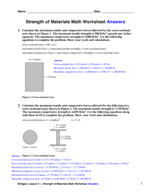 Strength of Materials Math Worksheet Answers - Teach Engineering - galena osuosl