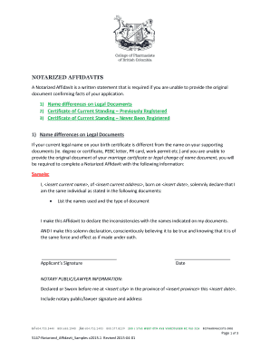 Notarized Affidavit Samples - bcpharmacists