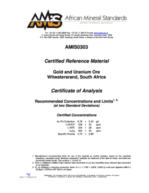 AMIS0303 Certified Reference Material Certificate of Analysis