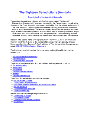 Fillable Online The Eighteen Benedictions (Amidah) Fax Email