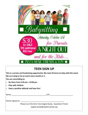 Babysitting flyer -teens sign up - St Peters Youth Ministry