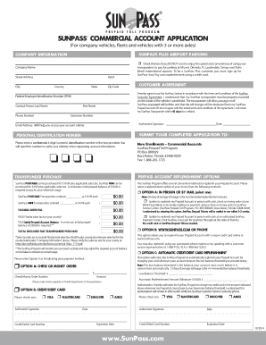 2014 Form Sunpass Commercial Account Application Fill Online