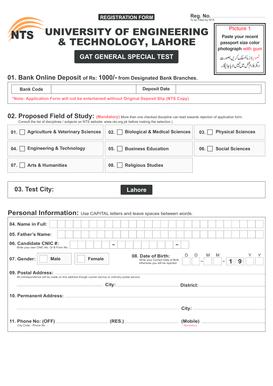 Fillable Online nts org UET GAT General Form - NTS - nts org