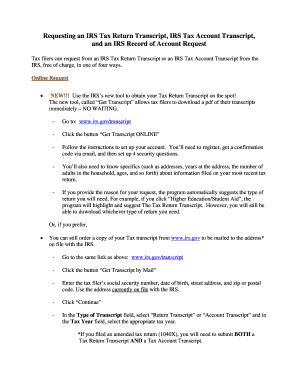 Printable irs tax transcript online - Fill Out & Download