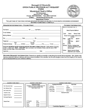 Fillable Online Westville-OPRA-Request-Form a - Westville NJ Fax ...
