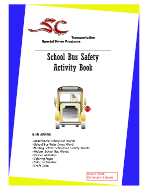 Fillable school bus safety activity book - Edit Online