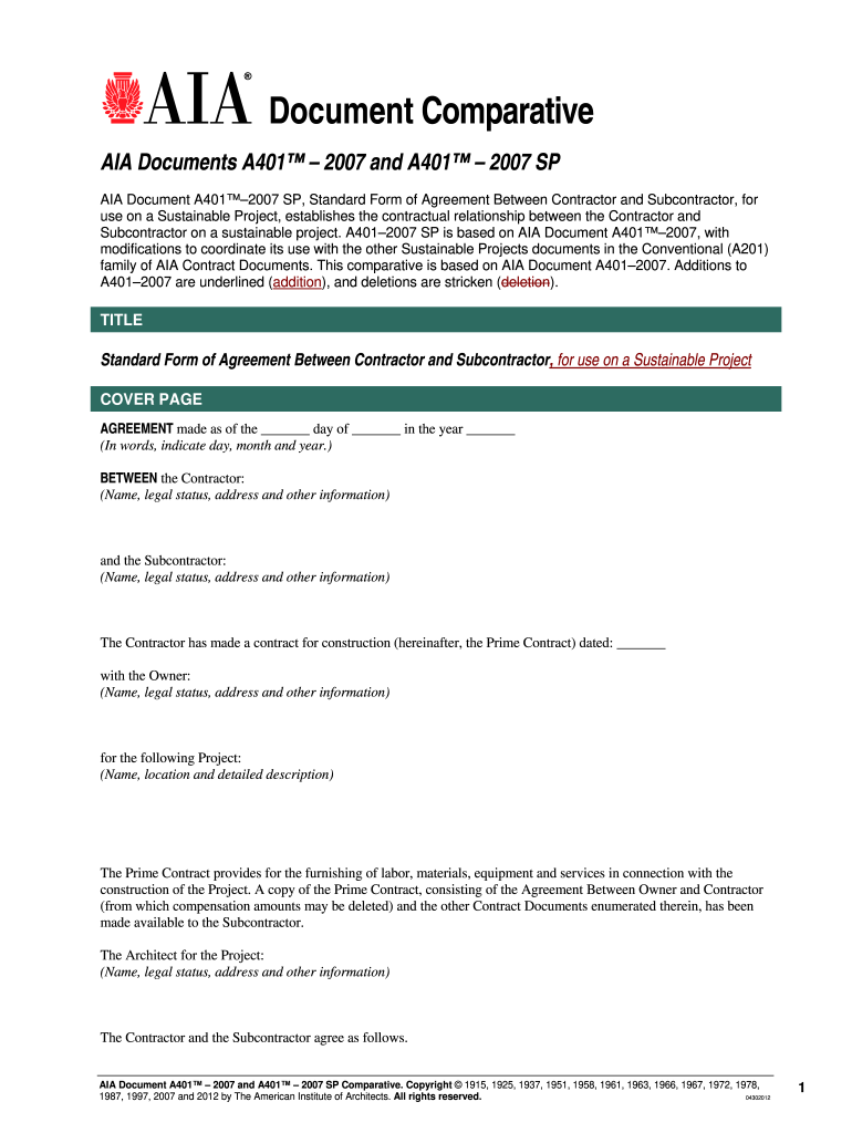 Aia A401 Fill Online Printable Fillable Blank Pdffiller