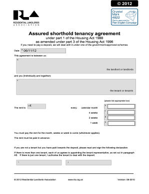 Rla Tenancy Agreement 2016 Edit Print Fill Out