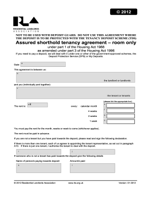 Fillable online loea co assured shorthold tenancy agreement room fill online platinumwayz