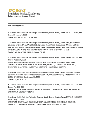 Arizona Health Facilities Authority Revenue Bonds (Banner Health), Series 2012A, $179,090,000, - emma msrb