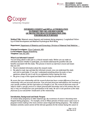Fillable Online Consent Form - History of Cancer Registry