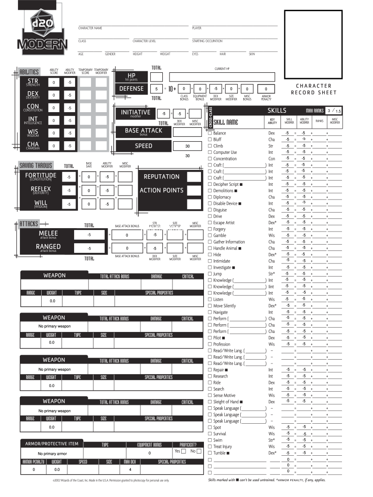 picture relating to Printable 5e Character Sheet named D20 Impressive Temperament Sheet - Fill On line, Printable