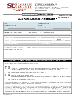Commercial Business Application Forms - Salt Lake County - slco