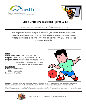 Fillable Online Little Dribblers Basketball (PreK & K
