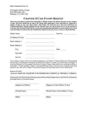 Fillable Online Payoff Request Form - Chapter 13 Trustee Fax Email ...