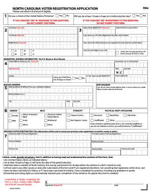 Bill Of Sale Form North Carolina Voter Registration Application ...