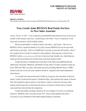Press Release Template: New Sales Associate - RE/MAX of Texas ...