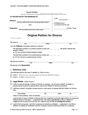 Printable divorce fee waiver form texas - Fill Out