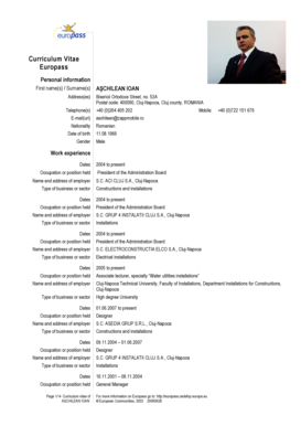 Curriculum Vitae Europass Personal information First name(s) / Surname(s) Address(es) Telephone(s) ACHILEAN IOAN Bisericii Ortodoxe Street, no - old utcluj