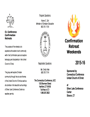 Confirmation Retreat Brochure - The Connecticut Conference United bb
