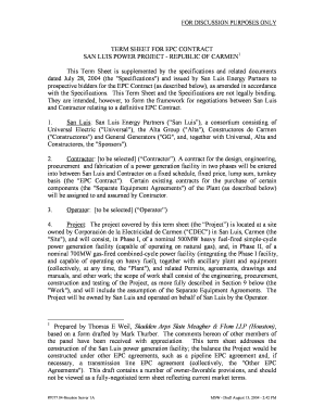 Term Sheet of EPC Agreement - American Bar Association - abanet