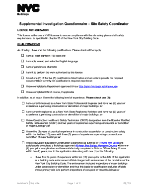 Supplemental Investigation Questionnaire Site Safety Coordinator