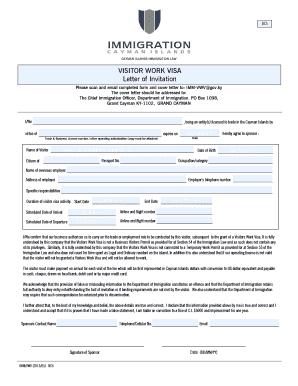 Fillable Online Visitor39s Work Visa Cayman Islands Immigration Department Fax Email Print Pdffiller