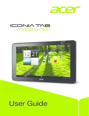 fillable online devicemanuals tablet acer iconia a700 a701 user rh pdffiller com HP Laptop User Manual Acer Aspire Laptop User Guide