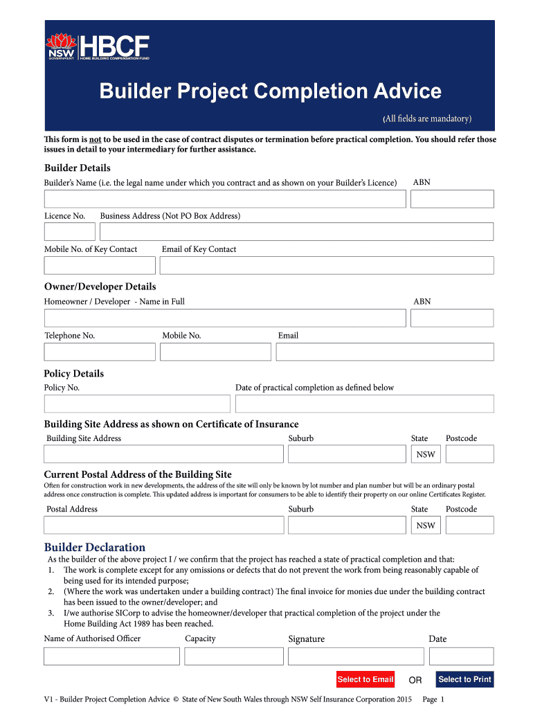Fillable Online Builder Project Completion Advice Form Fax ...