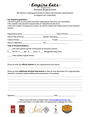 Fillable Online Donation Request Form - Empire Eats Fax