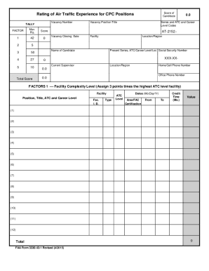 Fillable Online faa FAA Form 3330-43-1 Fax Email Print - PDFfiller