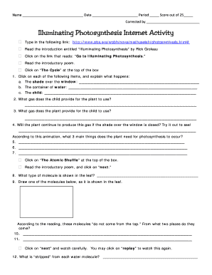 Worksheet On Factors Affecting Photosynthesis Fill Online