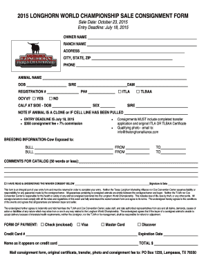 2015 Longhorn World Championship Sale Consignment Form   Texas  Consignment Forms Template