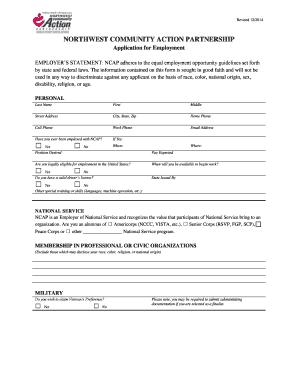 A job application - Northwest Community Action Partnership