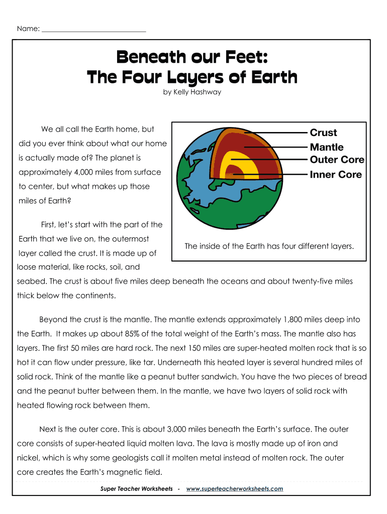 photograph relating to Earth Layers Worksheet Printable named Levels Of The Planet Printable - Fill On the internet, Printable