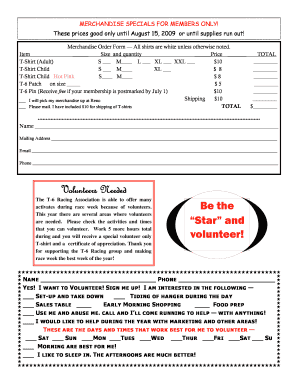 fillable online blog racingt 6 volunteer signup form t 6 racing