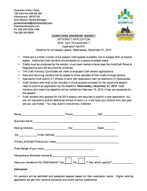 April 18November 7 Application fee 10 Deadline for full season bb