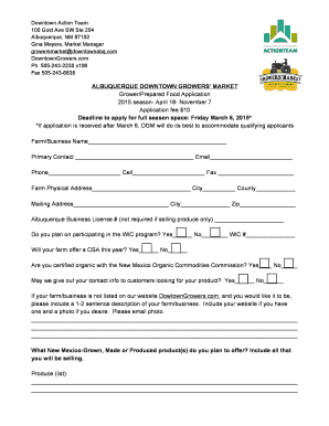 April 18- November 7 Application fee 10 Dea - Downtown Growers bb