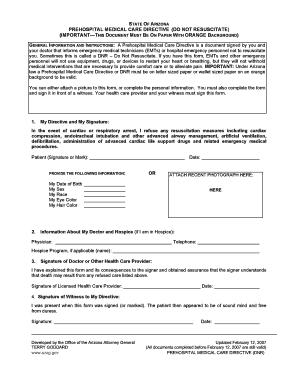... Hospital Do Not Resuscitate. Dnr Form Arizona Templates   Fillable U0026  Printable Samples For PDF .