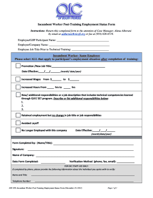 Incumbent Worker Post Completion Training BFormb  Printable Employment Verification Form