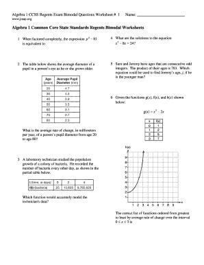 algebra 1 common core state standards regents bimodal worksheets fill online printable. Black Bedroom Furniture Sets. Home Design Ideas