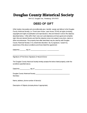 Deed of Gift - Douglas County Historical Society - douglascountyhistoricalsociety
