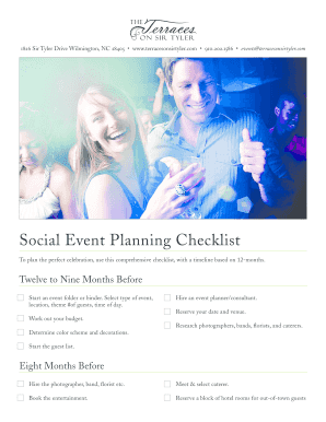 Social Event Planning Checklist - The Terraces on Sir Tyler