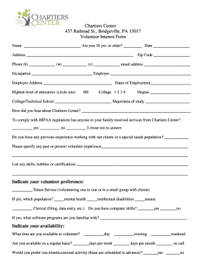 Volunteer Interest Form PDF - Chartiers Center