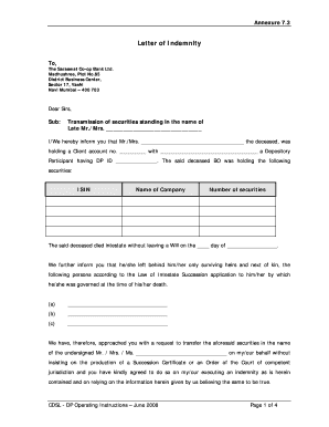 Indemnity letter forms and templates fillable printable samples annexure 73 letter of indemnity saraswat co operative bank altavistaventures Choice Image