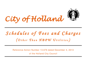 Calendar Year 2014 Fees & Charges - City of Holland, Michigan